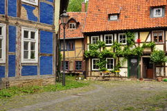 Halberstadt, Saxony Anhalt, Germany. The historic town of Halberstadt, Saxony Anhalt, Germany. Old half timbered houses in the town centre. Typical German Stock Image