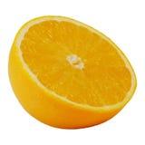 Halbes Dia von Valencia-Orange oder von Navel-Orange Stockfoto