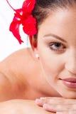 Halbes Gesicht der Badekurortfrau Lizenzfreie Stockfotos
