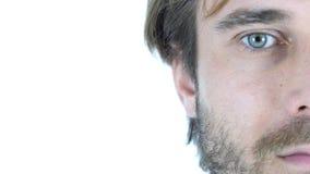 Halbes Gesicht des Mitte gealterten Mannes, weißer Hintergrund Lizenzfreie Stockfotos