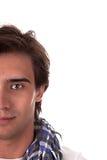 Halbes Gesicht des Portraits eines stattlichen jungen Mannes Lizenzfreie Stockbilder