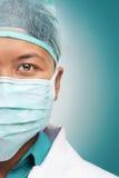 Halbes Gesicht des weiblichen Doktors Lizenzfreies Stockfoto