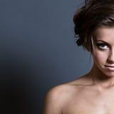 Halbes Gesichtsportrait der Frau Stockbilder