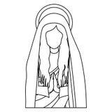 Halbes Körperheiliges betende Jungfrau Maria des Schattenbildes Lizenzfreie Stockfotos