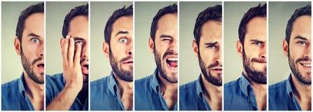 Halbes Porträt der ändernden Stimmung des Mannes Stockfotografie