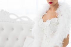 Halbes Porträt der schönen Braut Stockfoto