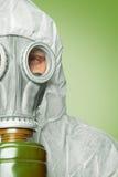 Halbes Porträt des Mannes im Respirator, Kopieraum Lizenzfreies Stockbild