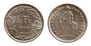 Halbes Silber des Franken 1959 Schweizer Münze der Schweiz lokalisiert auf weißem Hintergrund stockfotos