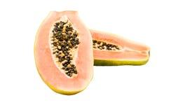 Halbiert Papaya. Lizenzfreie Stockbilder