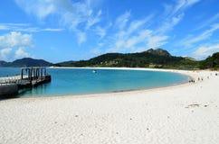 Halbkreisförmiger Strand (Islas Cies) Stockfotografie