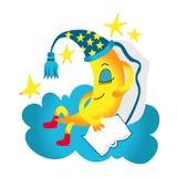 Halbmond, Mond in der Nachthaube mit dem Buch, das unter weißen Wolken und Sternen im nächtlichen Himmel schläft und lächelt Gute vektor abbildung