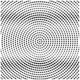 Halbton-Dots Monochrome Vector Black Radial-Beschaffenheits-Hintergrund-Muster stock abbildung
