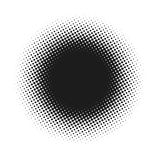 Halbton punktierte abstrakten Hintergrund des Vektors, Punktmuster in der Kreisform Schwarze komische Fahne lokalisierter weißer  lizenzfreie abbildung