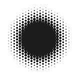 Halbton punktierte abstrakten Hintergrund des Vektors, Punktmuster in der Kreisform Schwarze komische Fahne lokalisierter weißer  Lizenzfreies Stockbild