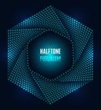 Halbtondesign der futuristischen Technologie des Hexagons stock abbildung