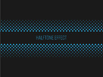 Halbtoneffekttitelstreifen mit blauem Text auf dunkelgrauem Hintergrund Auch im corel abgehobenen Betrag Stockfoto
