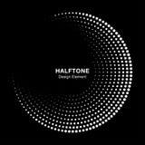 Halbtonkreisrahmen mit weißen abstrakten Punkten auf schwarzem Hintergrund Logogestaltungselement Vektor stock abbildung