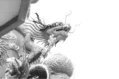 Halbtonpunktgraphik der generischen chinesischen Dracheskulptur Stockbild