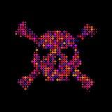 Halbtonschädel, Linie, Welle Vektorbild, Abbildung Einladung, Partei Anschlagtafel, Flieger ikone Mosaik, Pixel, Quadrat Lizenzfreie Stockfotografie