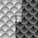 Halbtonvektor-nahtloses Muster, Satz von 2 Stockfotografie