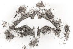 Halcón, halcón, Phoenix, dibujo de la silueta del águila hecho en ceniza como r Fotografía de archivo