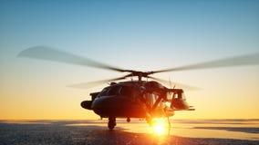 Halcón militar del negro del helicóptero UH-60, puesta del sol del wonderfull representación 3d stock de ilustración