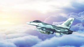 Halcón que lucha F-16 que vuela sobre las nubes libre illustration