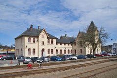 halden den järnväg stationen Arkivbilder