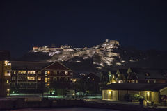 Halden harbor and fredriksten fortress of the night Stock Photos
