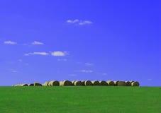 Hale bale ridge. Bales of hay sit atop a ridge in a pasture Royalty Free Stock Image