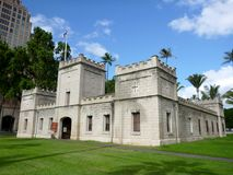 Hale Koa: Iolani Barracks. Halekoa, also known as Iolani Barracks, was originally completed in 1871 and designed by architect Theodore Heuck to house the Royal Royalty Free Stock Photo