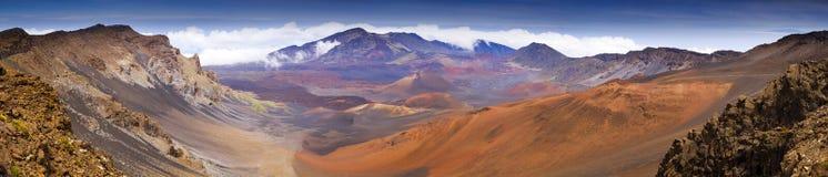 Haleakala国家公园火山火山口山顶全景  免版税库存图片