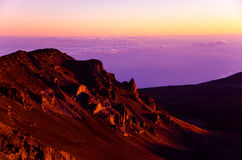 Haleakala火山口日出 图库摄影