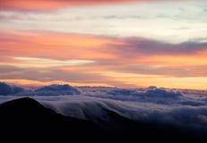 Haleakala火山日出 免版税库存图片