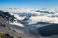 Haleakala火山的破火山口,毛伊,夏威夷 免版税图库摄影