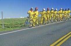 Haleakala的,毛伊,夏威夷自行车骑士 免版税图库摄影
