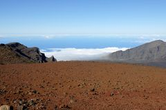 Haleakala Crater 2. Haleakala is an active, but not currently erupting, volcano (last erupted in 1790). Over 200 years later the land surrounding the lava flow Royalty Free Stock Photos