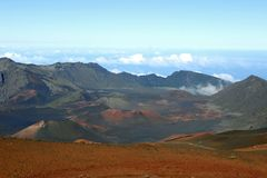 Haleakala Crater 3. Haleakala is an active, but not currently erupting, volcano (last erupted in 1790). Over 200 years later the land surrounding the lava flow Stock Photo