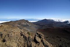 Haleakala Crater - Maui, Hawaii. View from the summit of Haleakala Crater on the island of Maui in Hawaii. Altitude is approx. 10,000 feet above sea level stock photography