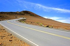Haleakala crater road. This image shows the road leading to the haleakala summit in Maui Stock Photos