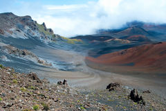 Haleakala crater with trails in Haleakala National Park on Maui Royalty Free Stock Image