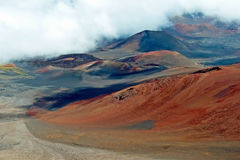 Haleakala crater with trails in Haleakala National Park on Maui Royalty Free Stock Photos