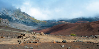 Haleakala crater with trails in Haleakala National Park on Maui Royalty Free Stock Photo