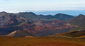 Haleakala Crater. Haleakala Volcano and Crater Maui Hawaii showing moon like surface with mountains, lava tubes, rocks, and surreal like beauty Stock Photography