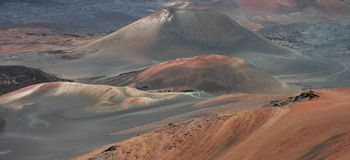 Haleakala Detail. Huge cinder cones on the floor of the extinct Haleakala Crater, captured in soft sunlight at Haleakala National Park in Maui, Hawaii Royalty Free Stock Photos