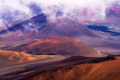 Haleakala krater, chmury, Maui Obrazy Royalty Free
