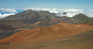 Haleakala Landscape Panorama. The lunar-like surface of Haleakala Crater, captured on an unusually bright sunny day in Haleakala National Park on the island of Royalty Free Stock Photography