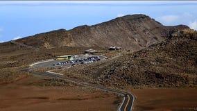 Haleakala national park road tourist parking lot stock video