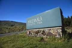 Haleakala National Park sign. Stock Photos