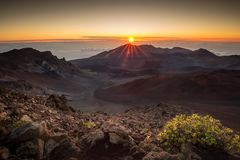Haleakala summit sunrise stock photos